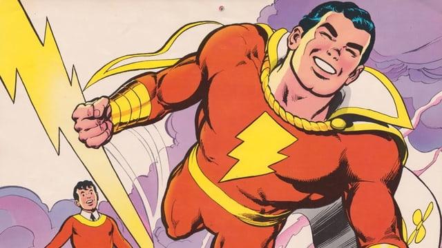 Comiczeichnung vom Jungen Billy und Superhelden Shazam.