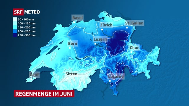 Die Karte zeigt die Regenmengen im Juni. Besonders viel Regen fiel am östlichen Alpennordhang und im Tessin.