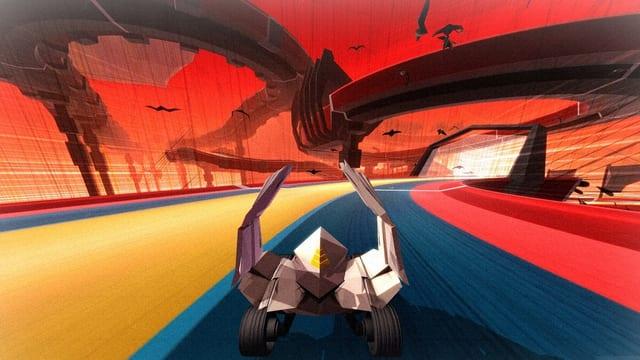 Ein Screenshot vom Spiel «Krautscape» zeigt ein futuristisches Fahrzeug auf einer bunten Rennstrecke.
