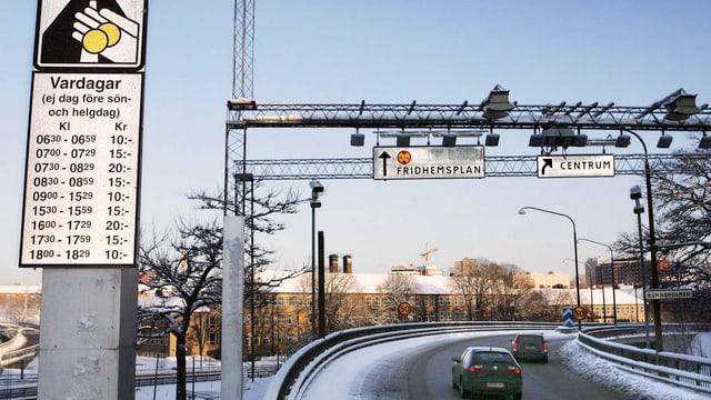 Road-Pricing-Anlage im Stockholm im Jahr 2006.