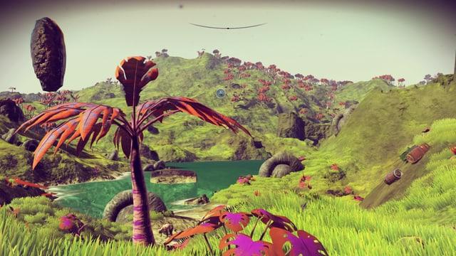 Ein See, grüne Hügel, rosa Pflanzen.
