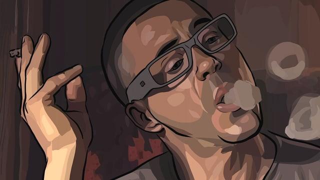 Ein Mann, im Comicstil verfremdet, raucht eine Zigarette und bläst Rauchringe.