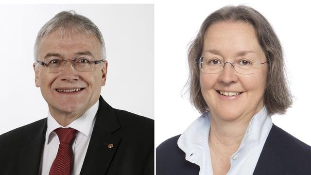Fotocollage Charles Juillard (CVP) und Elisabeth Baume-Schneider (SP)