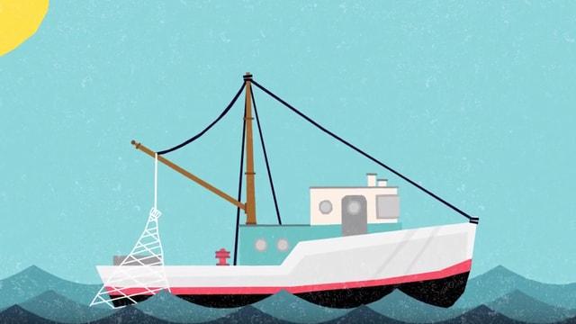 Eine Animation zeigt ein Schiff beim Fischfang auf dem Meer.