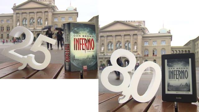 Buch Inferno im Original und auf einem E-Reader.