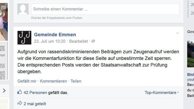 Screenshot einer Facebook-Meldung der Gemeinde Emmen.
