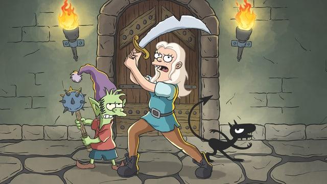 Elf Elfo, Prinzessin Bean und Dämon Luci: die Hauptfiguren von «Disenchantment»