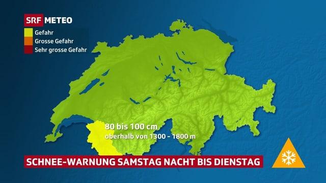 Schweizerkarte, die Gebiete mit Schneewarnungen im westlichen Wallis zeigt.