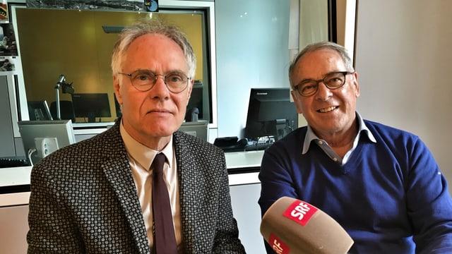 Moritz Leuenberger und Adolf Ogi im Tagesgespräch von SRF, am 31.6.16 in Bern.