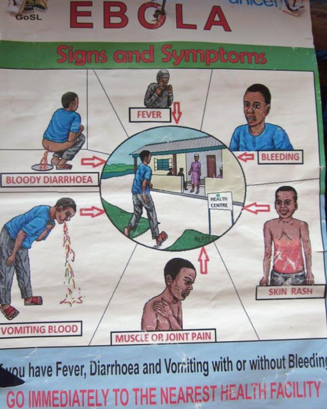 Plakat zeigt schematisch gezeichnet die Symptome von Ebola.