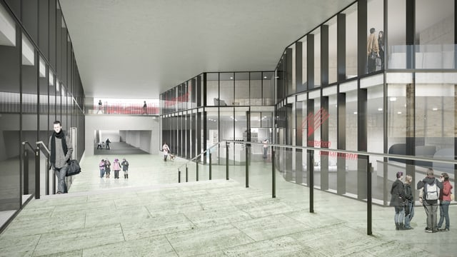 Visualisaziun da la halla da la staziun nova d'Andermatt.