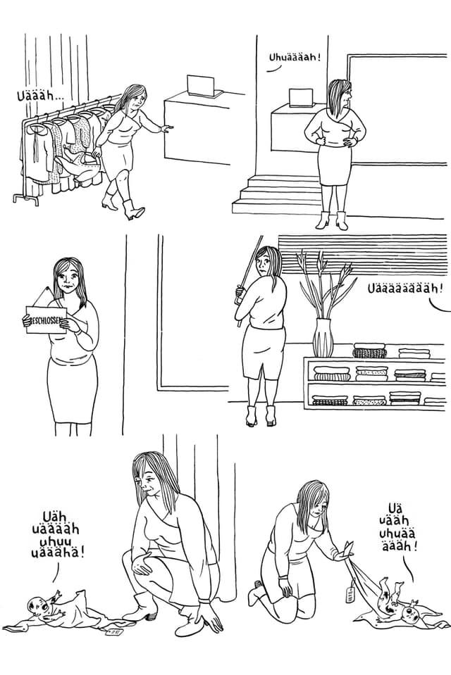Comic: Helen beschliesst das Baby zu behalten und versteckt es im Hinterzimmer der Boutique.