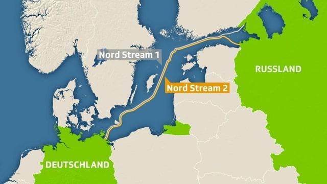 Karte der Nord Stream 2.