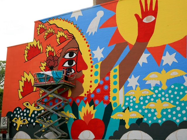 Street Art in Montreal an einer Hausfassade