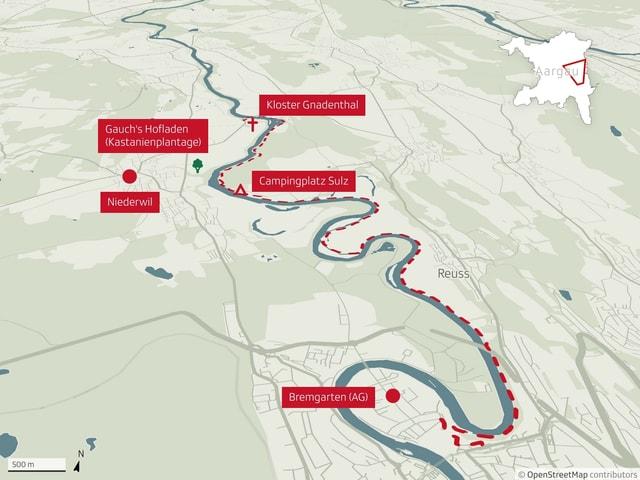 Karte der Wanderung entlang der Reuss.