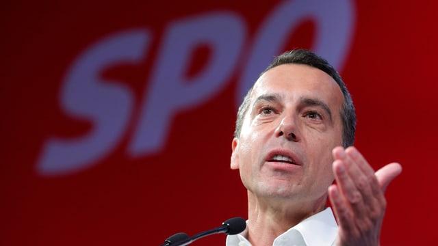 Kern an einer Wahlkampfveranstaltung der SPÖ in Wien (3. August)