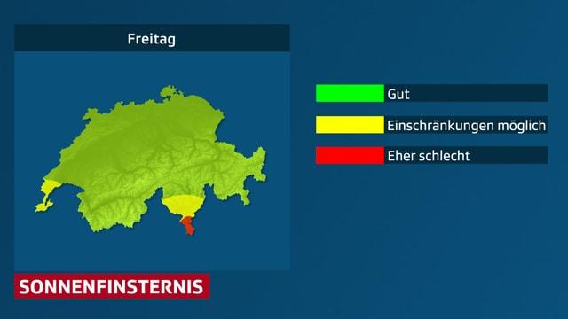 Eine fast grüne Schweizerkarte, die Chancen stehen gut, an den meisten Orten kann man die Sonnenfinsternis beobachten.