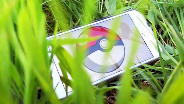 Ein Handy liegt im Gras.