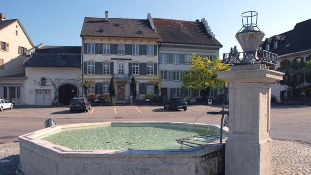 Blick auf den Dorfbrunnen in Gelterkinden