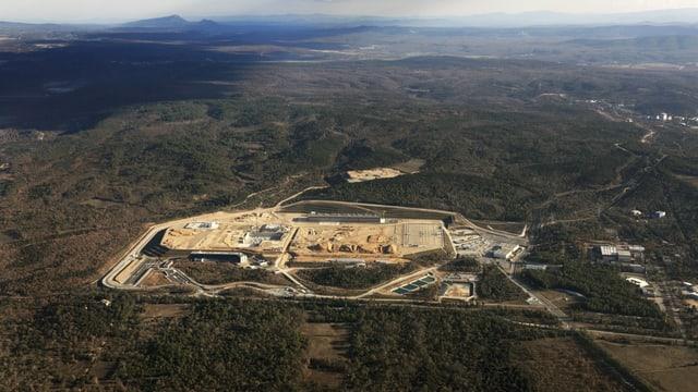 Luftaufnahme der Baustelle des ITER.