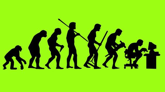 Illustration: Evolution - Vom Affen zum Homo Sapiens zum Homo Digitalis