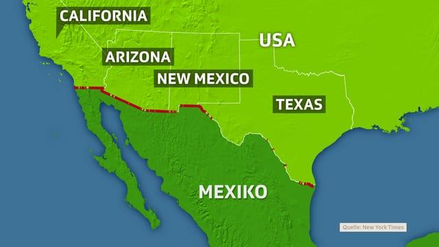 Karte mit bisheriger Grenzsicherung zu Mexiko