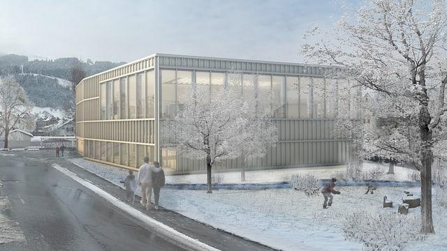 Modell des geplanten Hallenbades.