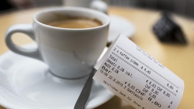 Kaffee mit Quittung