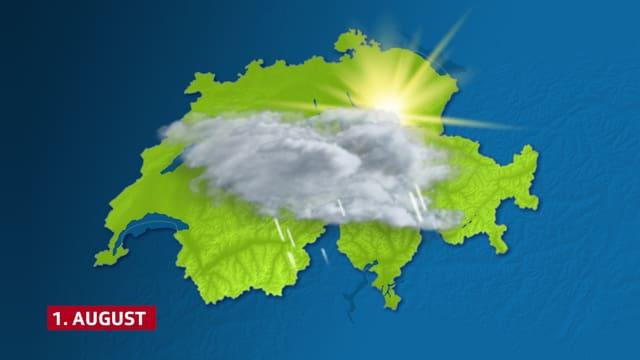 Die Schweiz mit einem Wettersymbol für Regen und Sonne.