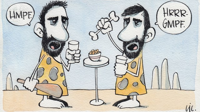 Zwei im Comic-Stil gezeichnete Neandertaler stehen sich an einem Stehtisch gegenüber. Der eine hält Keule und Weinglas, der andere Knochen und Weinglas. In Sprechblasen reden sie unverständliche Grummelworte.