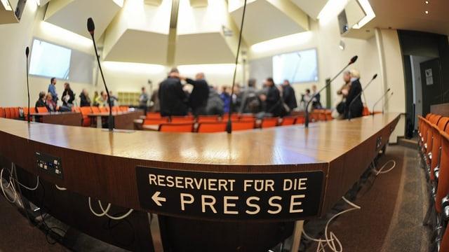 Pressetribüne am Oberlandesgericht in München.