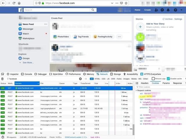 Screenshot: Loggt man sich bei Facebook ein, wird im Browser ein Cookie abgelegt (sichtbar unten rechts). Darin befindet sich eine eindeutige Nutzerkennung (gelb markiert).