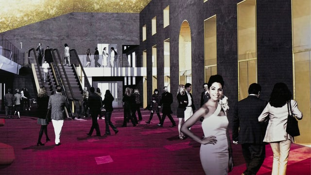 Bildmontage: Üppiger Saal mit rotem Teppichboden und goldener Decke.