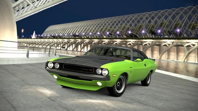 Ein Dodge Charger in Grün vor schwungvoller Betonarchitektur.