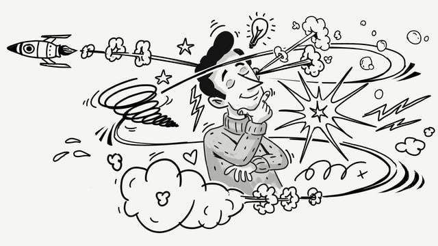Zeichnung: Ein Mann in der Mitte des Bildes nachdenklich die Augen geschlossen und die Hand am Kinn. Um ihn herum schwirren Gedankenblitze.