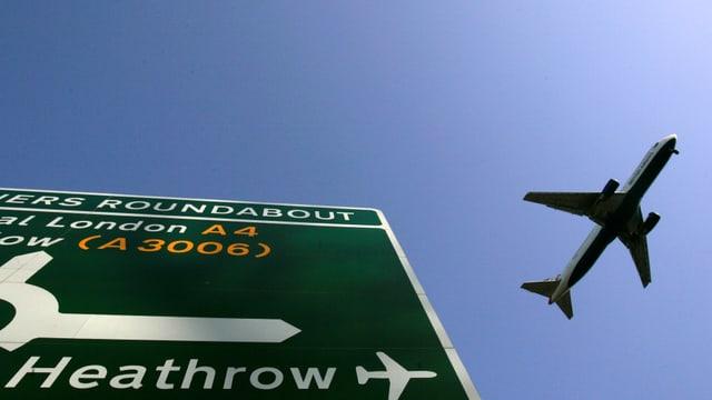 Autobahn-Tafel auf der Heathrow steht, Flugzeug in der Luft.