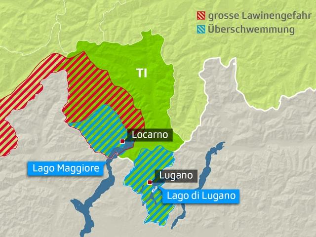 Karte des Tessins zeigt Flächen mit Hochwasser- und Lawinengefahr