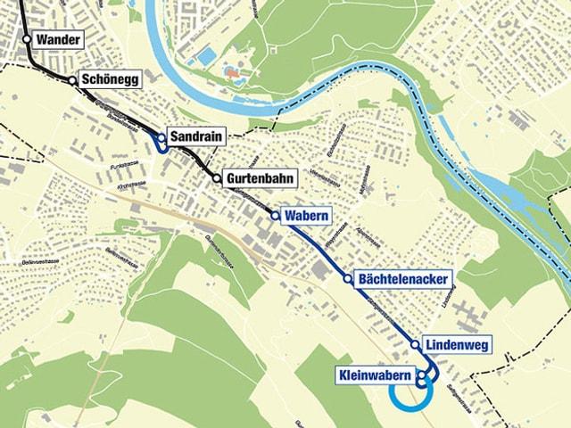 Karte der neuen Tramlinie bei Wabern