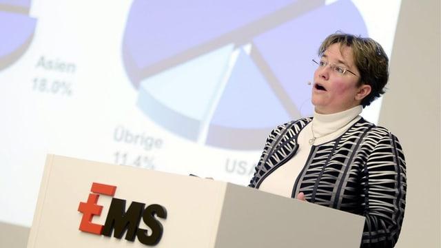 Magdalena Martullo Blocher während einer Pressekonferenz am Rednerpult