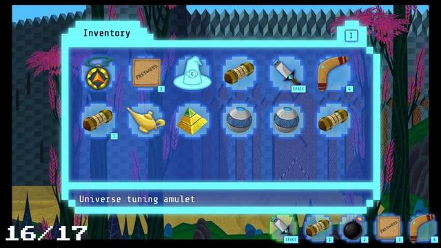 Das Inventar von Meow: Zeitreise-Amulett, magischer Hut und viele andere nützliche Dinge.