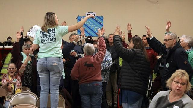 Anhänger der Demokraten in einer Vorwahl in Iowa
