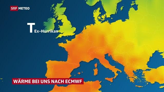 Karte mit Temperaturverteilung in Europa nach dem europäischen ECMWF-Modell. Warme Luft gelangt von Süden in die Schweiz.