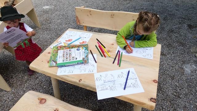 Ein Kind sitzt an einem kleinen Holztisch und malt mit einem Farbstift Tiere aus.