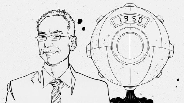 Zeichnung: Claus Beisbart neben einer Zeitkapsel, die mit 1950 beschriftet ist.