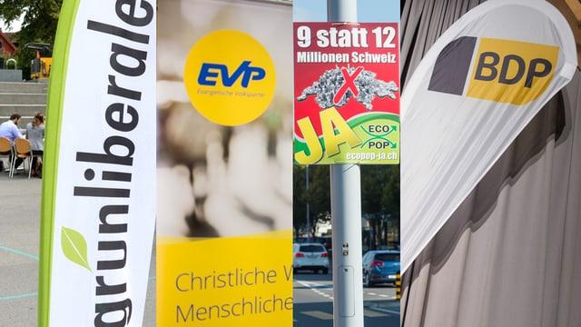Logos der Parteien, GLP, EVP, BDP und Ecopop