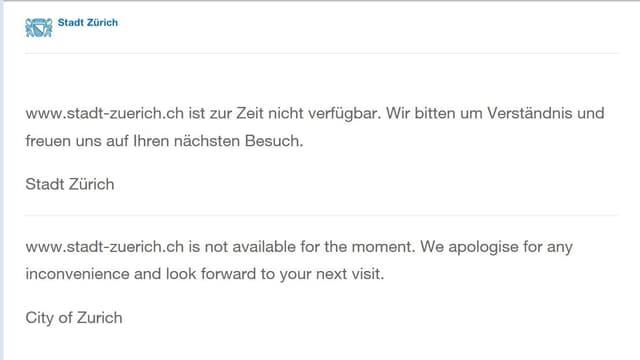 Website mit Entschudigungen auf Deutsch und Englisch