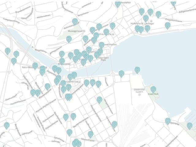 Karte mit eingezeichneten Brunnen