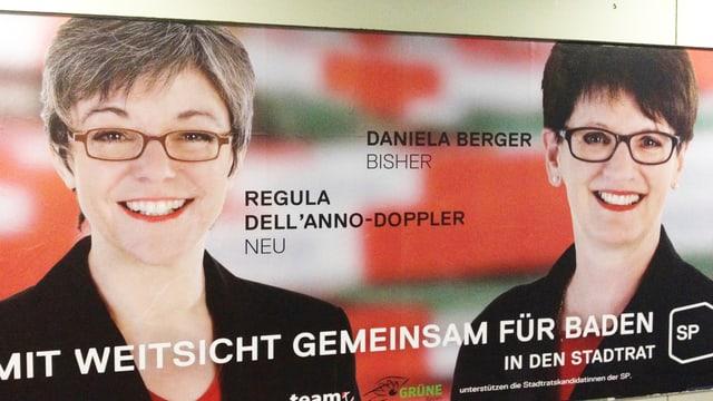 Wahlplakat mit zwei Frauen und dem Logo der SP.