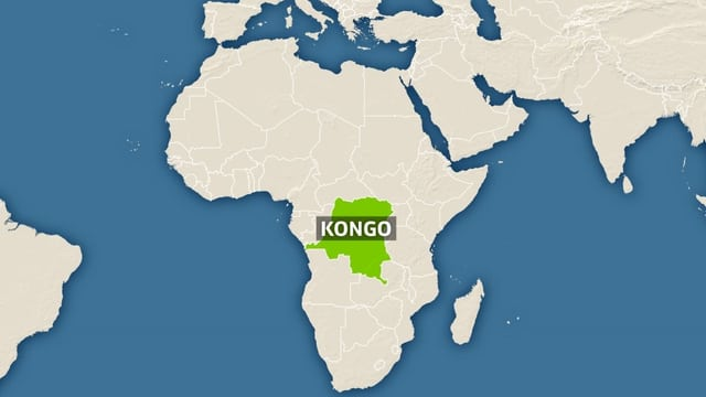 Karte von Afrika, zentralafrikanischer Staat Kongo markiert.