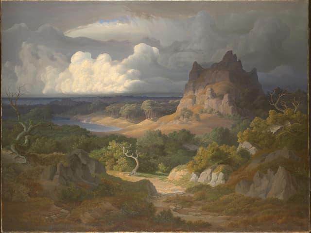 Landschaftsbild mit dramatischen Lichtverhältnissen und Wolken.